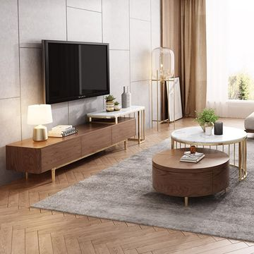 China Modern White Walnut Round Coffee Table With Storage Wood