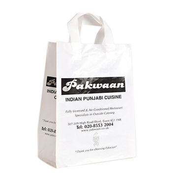 China HDPE Blockbottom Bags with Tri-fold Handle, Available in Various Colors