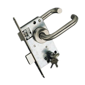 DIN Mortise Door Lock Non-locking Latch with 72mm Distance of Handle to Center of Cylinder