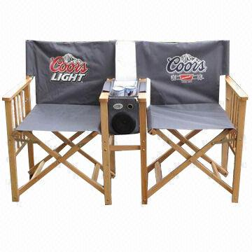 China Dual Director Chairs With Side Table Made Of Wooden Frame And