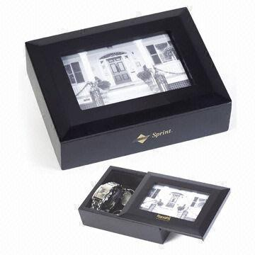 square shaped wooden jewelry box with photo frame lid on