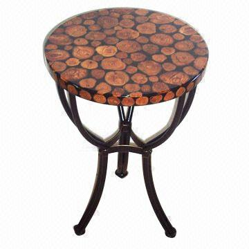 Accent Table, Made Of Laminated Reclaimed Wood, With Metal Frame