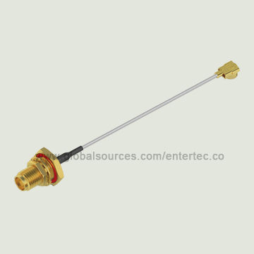 Taiwan Custom Made 1.13mm Coaxial Cable with SMA(F) S/T Bulkhead Jack with O-Ring to IPEX(2.5H)