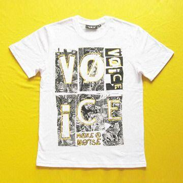 China Children's T-shirt with Soft Water-based Printing, Made of 100% Cotton