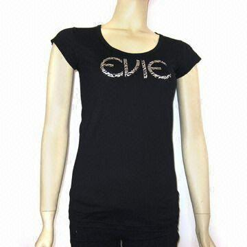 China Women's T-shirt with Foil Printing, Made of 100% Cotton, Customized Logos are Accepted
