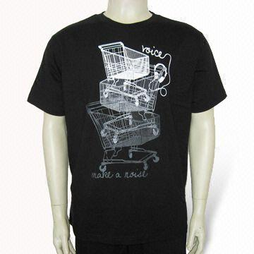 China Men's T-shirt with Printing, Made of Single Jersey, Customized Logos are Accepted