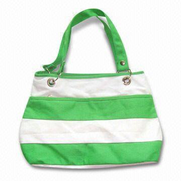 China Canvas Handbag with Colorful Strip Design, Measuring 38.5 x 11 x 28cm