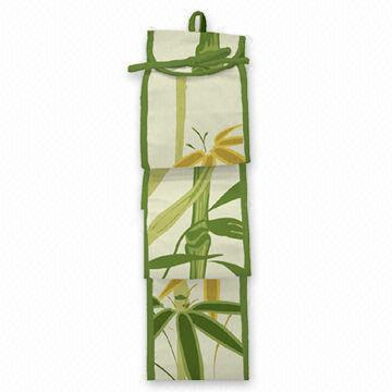 Bamboo Tissue Roll Holder Organizer on Shower Curtain Rods ...