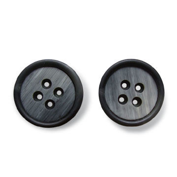 Resin Buttons in Horn Effect Pattern with 4 Holes, Available in Various Sizes and Colors