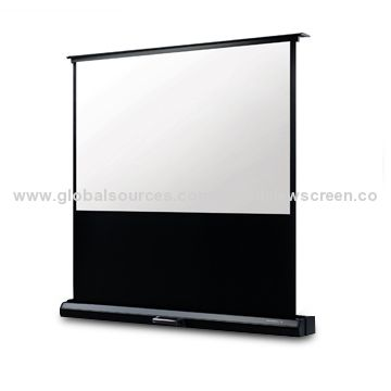 Portable floor up projection screen with patent motorized for Motorized floor up screen