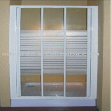 Glass Shower Door 10210 Clear Striped Tempered Glass White