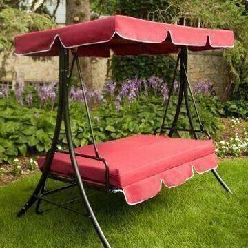 Outdoor Garden Swing Chair And Bed With Popular Cherry Fabric Color, 500lbs  Weighing Capacity