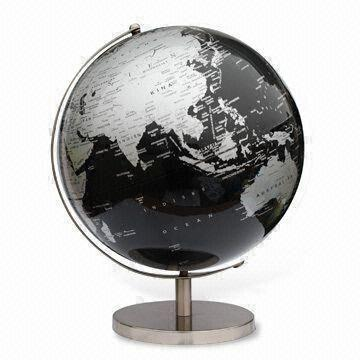 china decorative globe with black silver map and metal stand measures 30cm - Decorative Globe