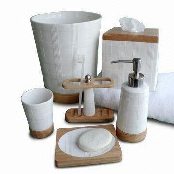 Ceramic bath accessories set with solid wood and elegant for Ceramic bath accessories sets