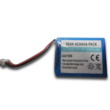 China Li-ion Battery Pack with Voltage of 3.7V, Capacity of 650mAh