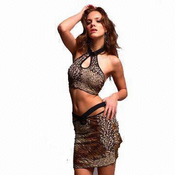 Hong Kong SAR Sexy Lingerie Costume with Leopard Printing, Made of Polyester and Spandex, OEM Orders are Welcome