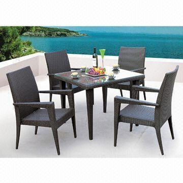 and cheap garden furniture patio wicker rattan dining table set with 4