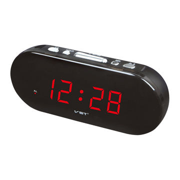 "0.9"" LED Alarm Clock, 220V AC/50Hz Power Rating, Made of PS and ABS Materials"