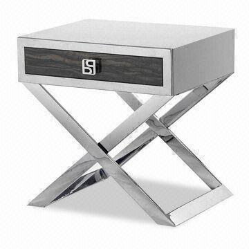Stainless steel bed side table used as night stand lamp - Stainless steel bedroom furniture ...