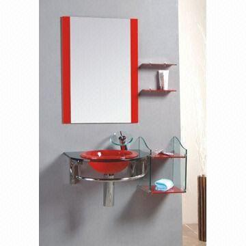 Bathroom cabinet with glass, 11mm basin, 15mm countertop, measures 90x53cm