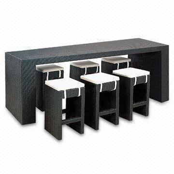 China Aluminum Wicker Bar Furniture Rectangle Table With Stool