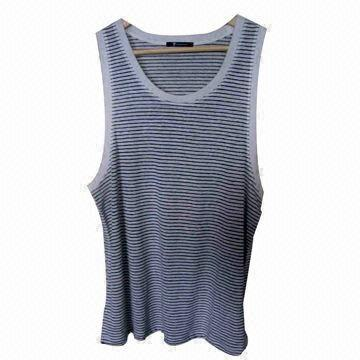 Men's Vest or Tank, Made of 100% Linen, with Ivory and Onyx Stripe