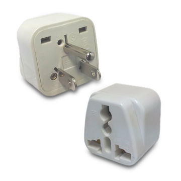 3-pin Universal AC US Travel Adapter, Converts All Country's AC Plug to US Style, with Ground Plug