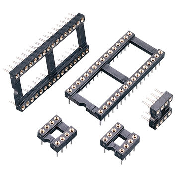 Taiwan 2.54mm (.100-inch) Screw Machine Pin IC Socket with 100V AC/DC Voltage Rating