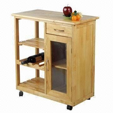 Kd style oak kitchen trolley with shelves drawer and cabinet global sources - Kitchen cabinets trolleys pictures ...