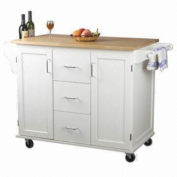 White Kitchen Trolley With Towel Hangers Cabinets And