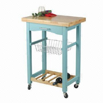 Kitchen cart in light blue color with drawer wire basket