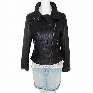 Women rider's jacket, made of lamb skin leather, good and elegant