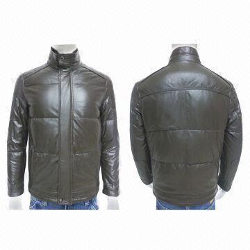 Men's Lamb Napa Down Jacket with Fur Collar, OEM Services are Provided