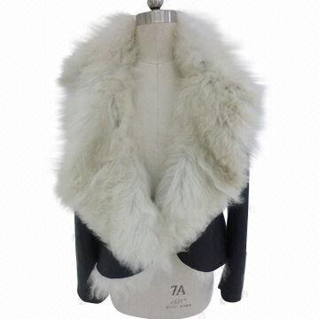2012 Newest Ladies' Double Face Genuine Goat Fur Coat with Big Collar
