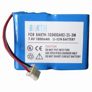 China Lithium-ion Battery Pack, 7.4V Voltage