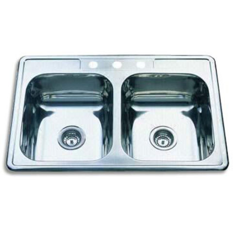 Double-bowl Type Sink, Made of Stainless Steel, Available in 0.6, 0.7, and 0.8mm Thickness