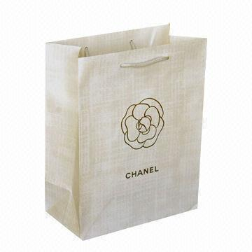 Paper Bag with White Poly Handle, Made of 170g Art Paper