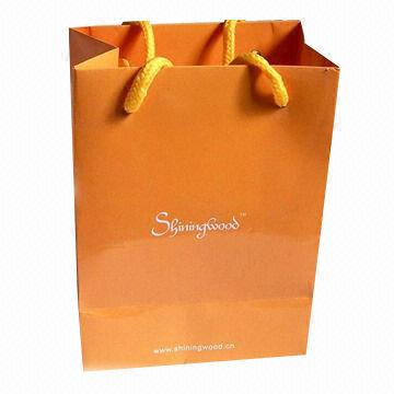 China Paper Bag with Yellow Poly Cotton, Made of 170g Artpaper