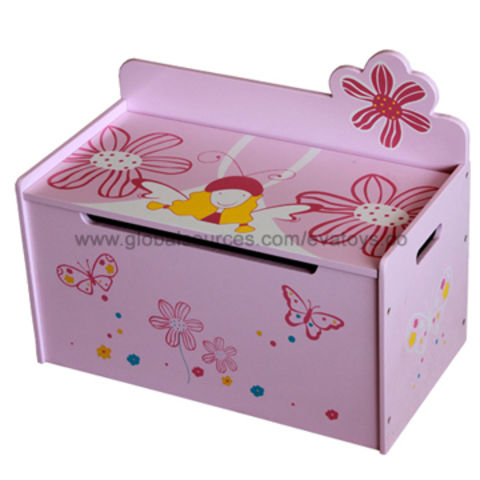 China Multifunction Wooden Toy Box With Cute Printingstorage Box