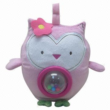 Plush Owl Toy with Rattle on Belly for Baby (Pink), Customized Designs Welcomed