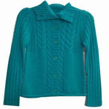 Ladies Cardigan, Ladies Cardigan Back side Jersey, Yarn: 100% Acrylic, Gauge: 3GG, Weight: 14.50