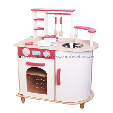 2013 kids 39 wooden pretend kitchen toy with nontoxic paint for Small childrens kitchen set