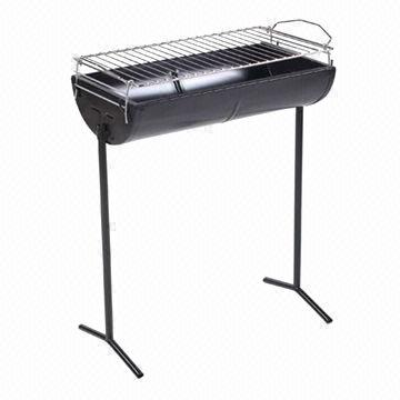 Oil Drum Half Barrel Charcoal BBQ Grill, high-temp painting, trolley, adjustable height, easy to use