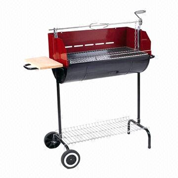 Oil Drum Half Barrel Charcoal BBQ Grill, High Temp/Painting/Trolley, Adjustable Height/Easy to Use
