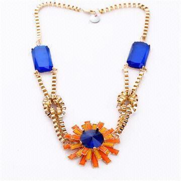 China Fashion Accessories Dark Blue Gem Big Flower Gold Thick Chain Necklace