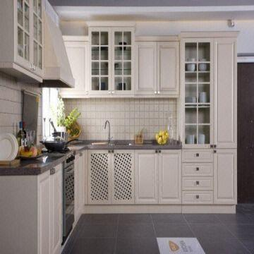 White Color American Style Solid Wood Kitchen Furniture