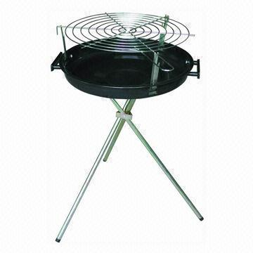 Charcoal Grill with Simple Style, Round Shape, Porcelain Enamel