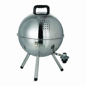 Gas football grill, stainless steel, portable, 14""