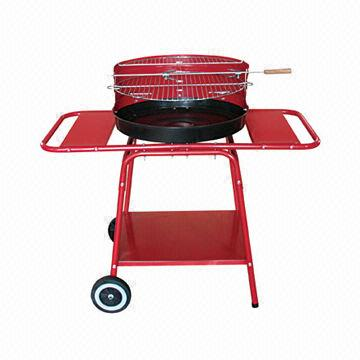 "Trolley Charcoal Grill, 18"" with Side Tables"