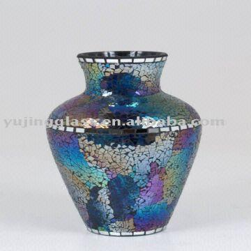 Glass Mosaic Vase Cool Blue Global Sources